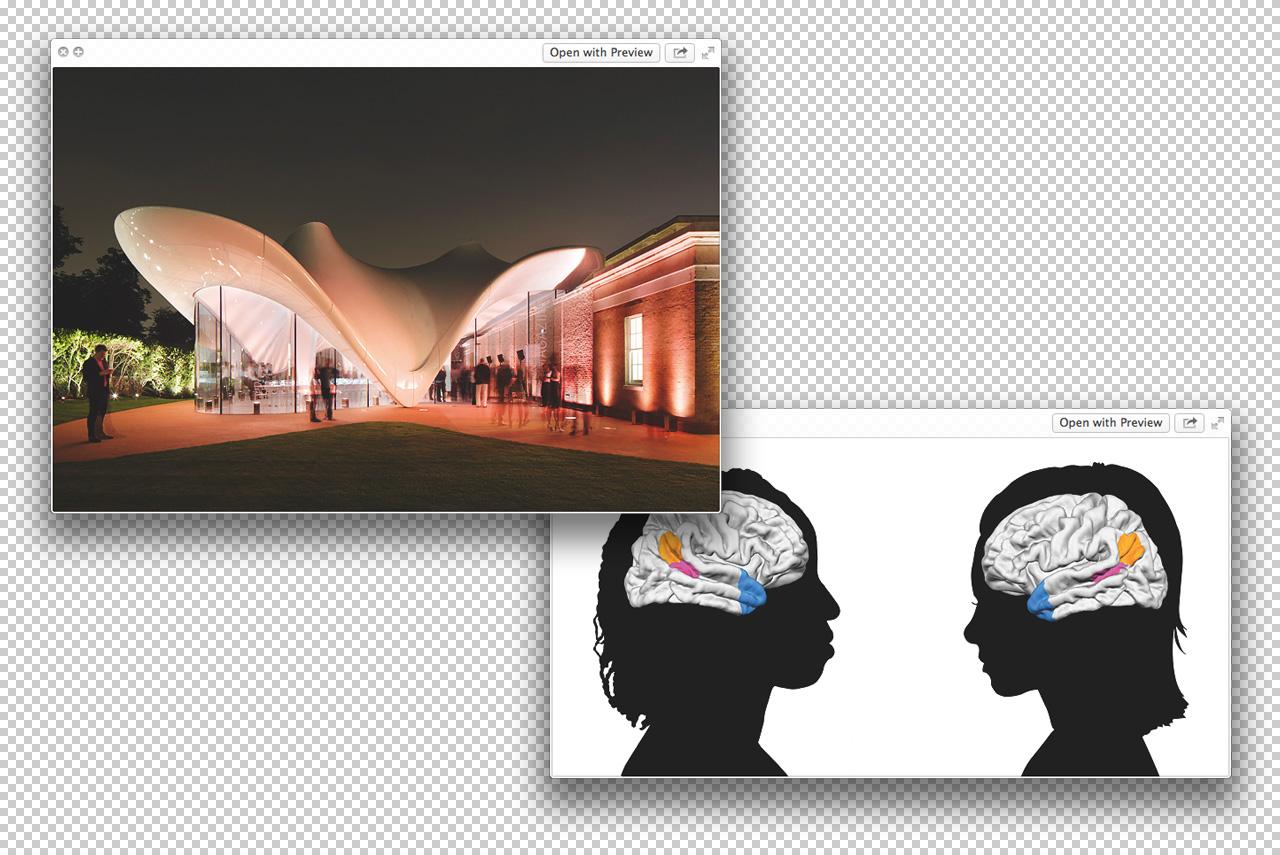 Слева: галерея Serpentine Sackler, где проходил марафон 89plus. Справа: работа Кэтрин Миллс «Социальный разум в подростковом возрасте»