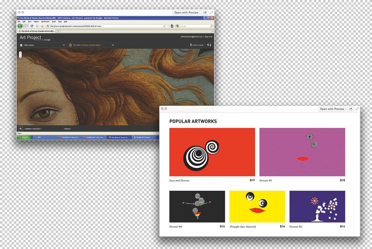 Слева: оцифрованное искусство с Google Art Project. Справа: работы Анджело Плессаса, выставленные на сайте seditionart.com