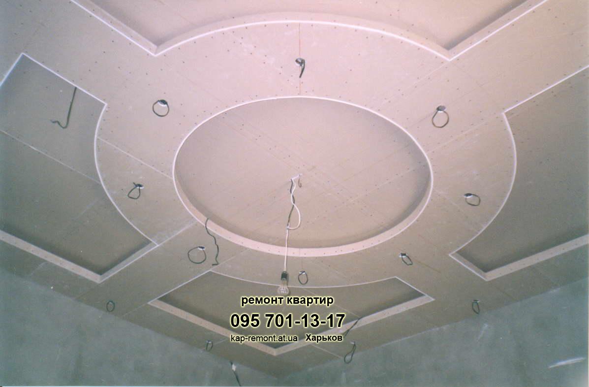 Подвесные потолки из гипсокартона с фото