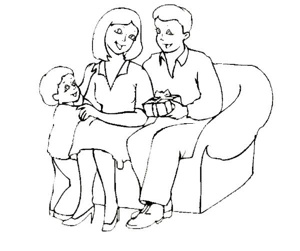 семья картинки раскраски для детей