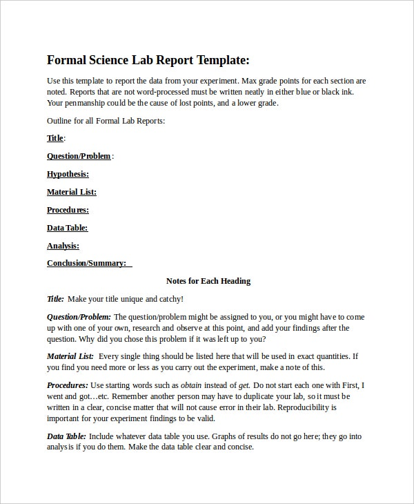 Example of science report