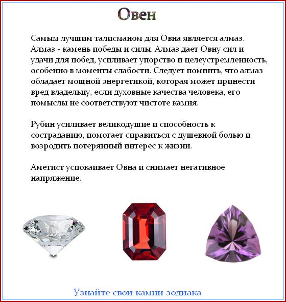 Камни овнов по гороскопу для женщин