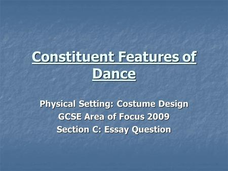 What is dance essay