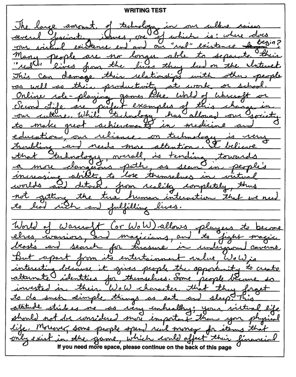example of written essays