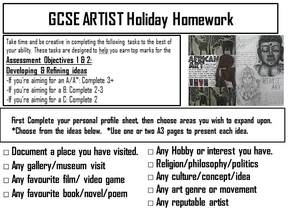 Creative Homework pack by bluerose - TES Resources