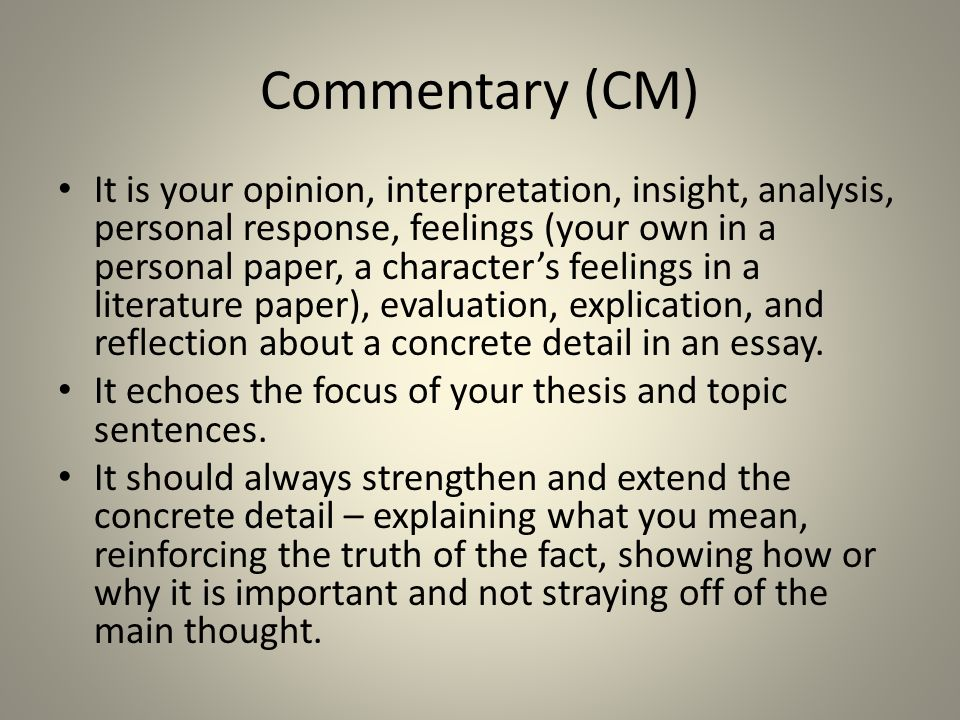 Commentary in essay