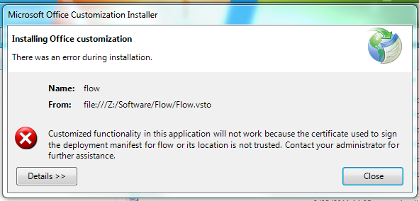 Communication Failure Error when trying to install after