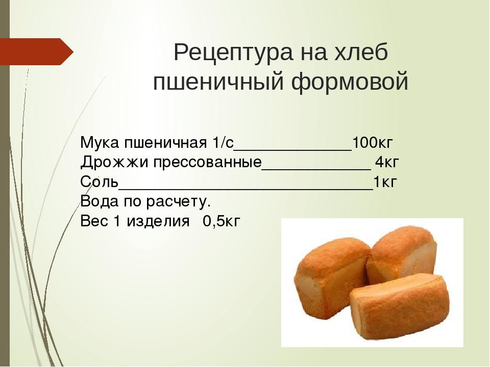 Рецепт для режима быстрый хлеб