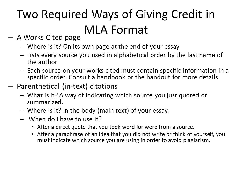 Research paper mla - The Writing Center