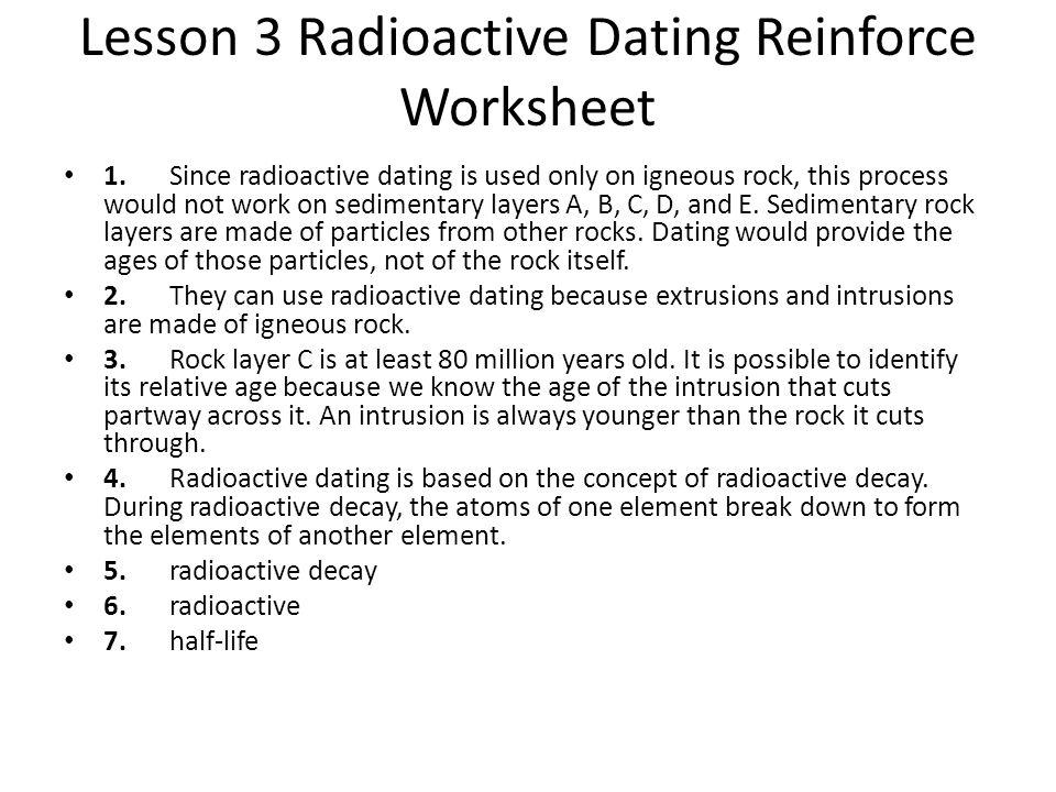 Radiometric dating lab answer key