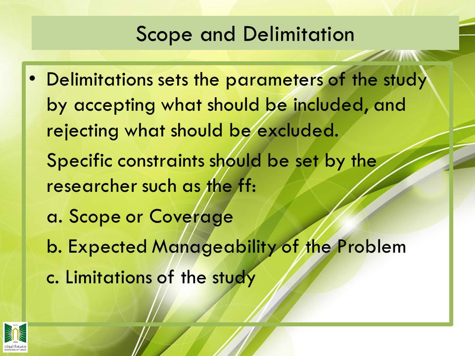 example of thesis scope and limitation