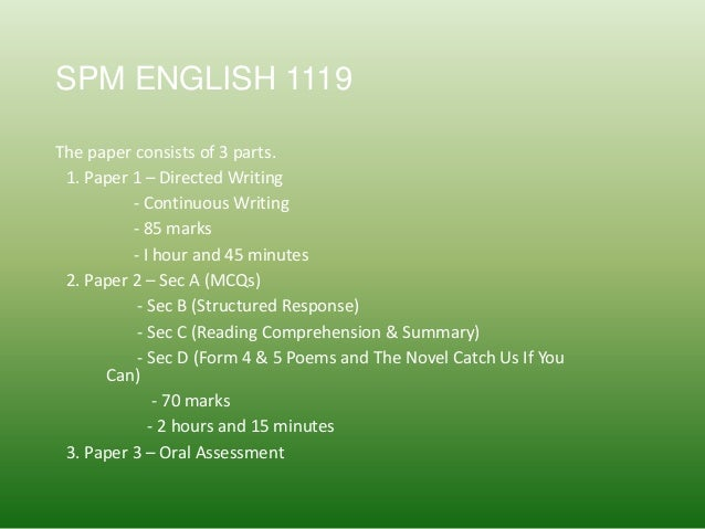 SPM 1119/1 Continuous Writing - Write a story