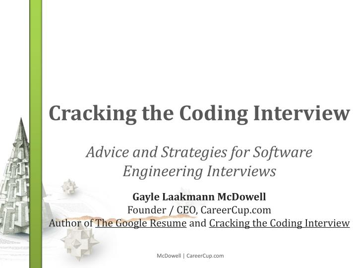 FOURTH CRACKING THE EDITION C O D I N G Gayle