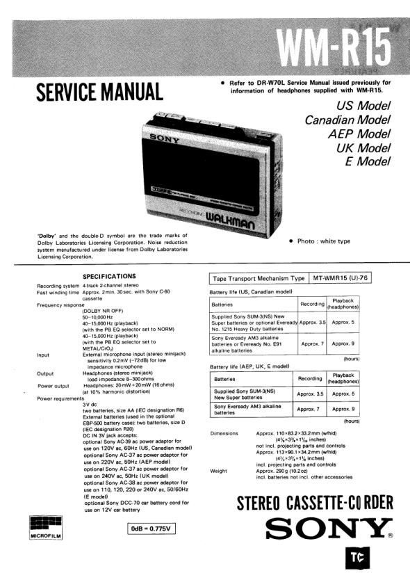 Service manual sony wm-d6c