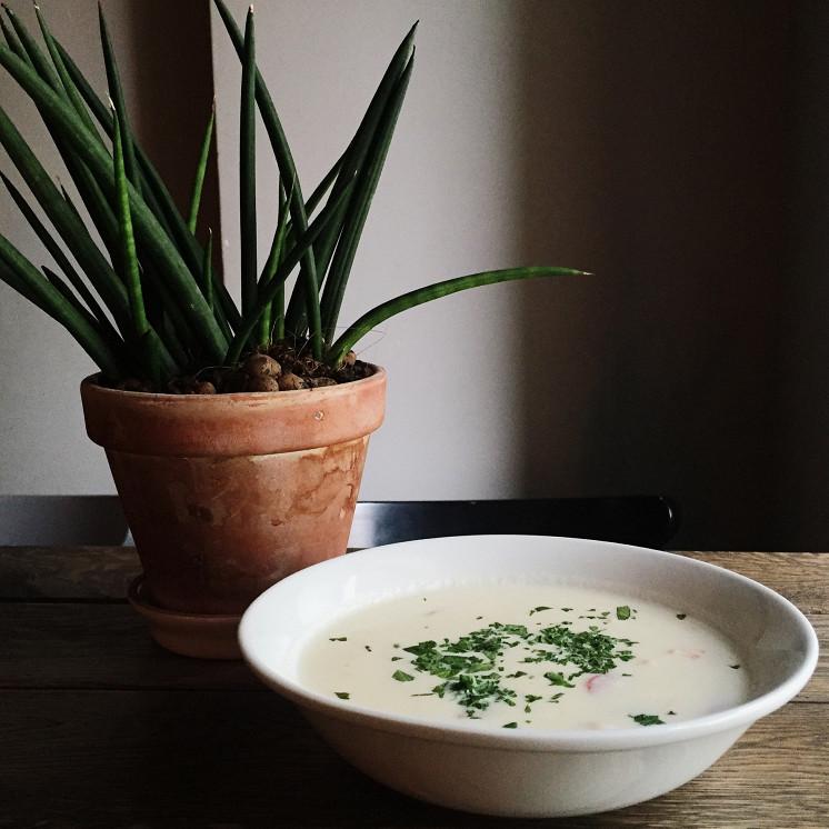 Ресторан Grey's - фотография 6 - Сливочный суп из цветной капусты с лососем