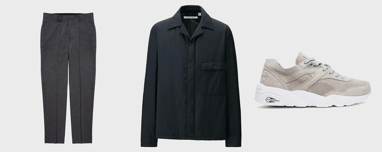 Брюки Asos, 3529 р., куртка Uniqlo x Lemaire, 5999 р., кроссовки Puma, 6790 р.