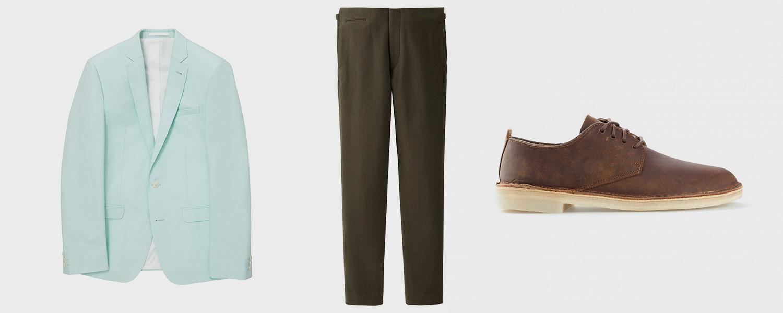 Пиджак Asos, 3529 р., брюки Uniqlo x Lemaire, 6999 р., ботинки Clarks Originals, €120