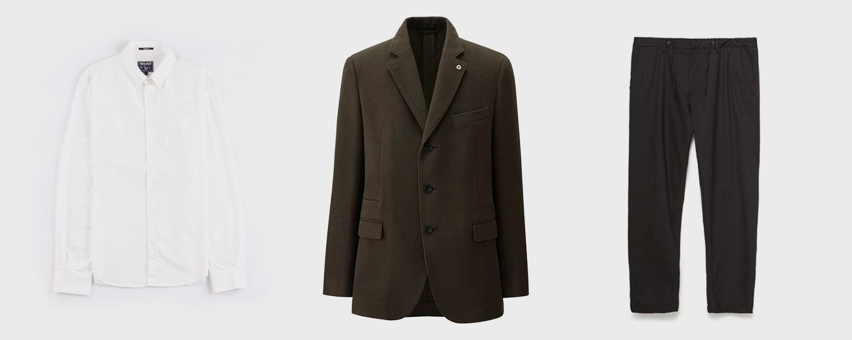 Рубашка Woolrich, €50, пиджак Uniqlo x Lemaire, 12 999 р., брюки Zara, 2999 р.
