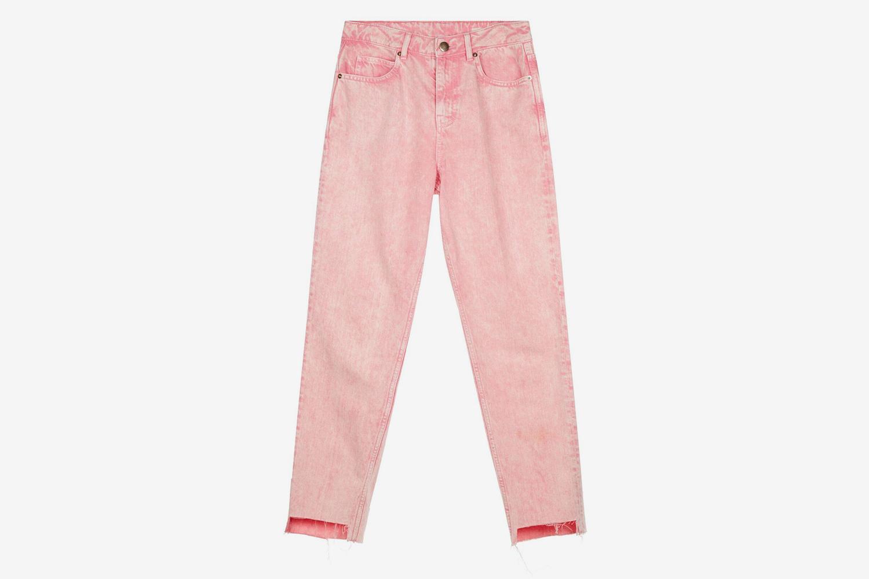 a36cde72838 Розовые джинсы в технике stonewash
