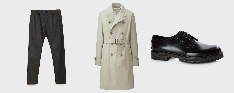 Брюки Zara, 2999 р., плащ Uniqlo x Lemaire, 12 999 р., ботинки Vagabond, 8900 р.