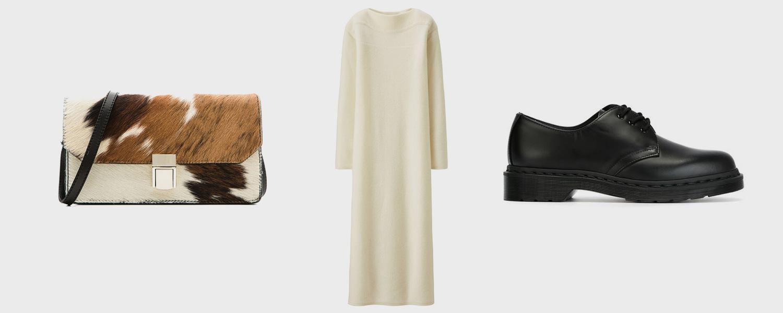 Cумка Uterqüe, 9590 р., платье Uniqlo x Lemaire, 8999 р., ботинки Dr. Martens, £131