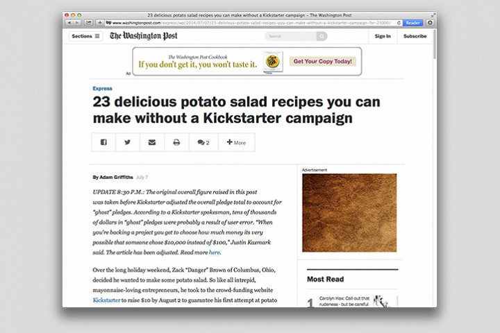 Так на случай с салатом реагирует американская пресса: Washington Post опубликовали статью «23 рецепта картофельного салата, которые вы можете сделать без кампании на Kickstarter»