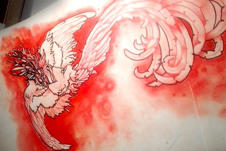 Эскиз красная курица вместо обещанного феникса