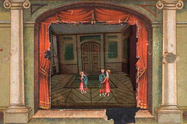 Принцип «призрака Пеппера» в праксиноскоп-театре Эмиля Рено. Анимация помещается внутрь театральных декораций благодаря частичному отражению в стекле