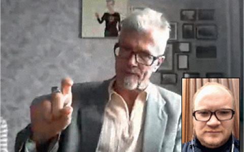 Эдуард Лимонов разговаривает с Олегом Кашиным