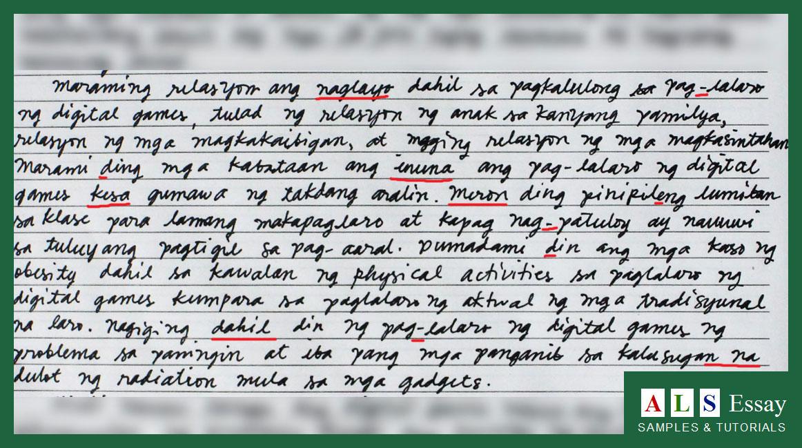 Essay in tagalog