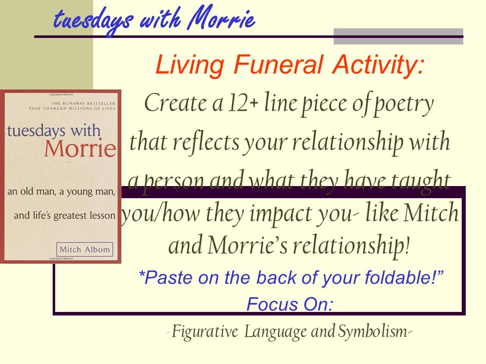 Tuesdays With Morrie Essays: Examples, Topics, Titles
