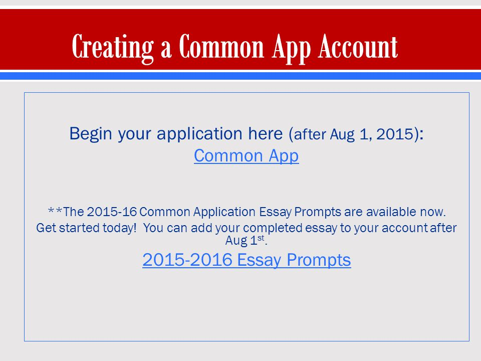 COMMON APPLICATION 2016-2017 Student Guide