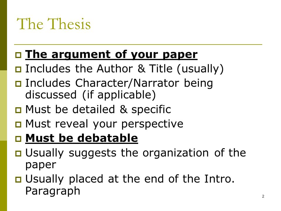 Thesis Statements - The Writing Center
