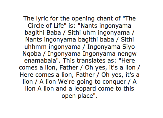 Elton John - Circle of Life (The Lion King) Songtext