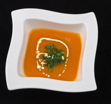 Рецепт Быстрый морковный суп-пюре сукропным песто