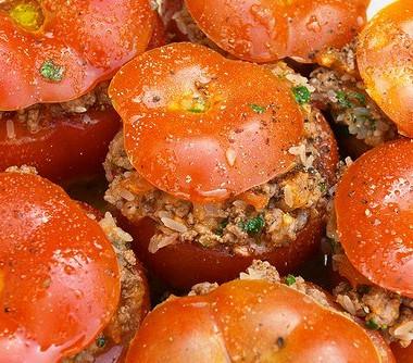 Рецепт Помидоры, фаршированные бараниной, кедровыми орешками имятой